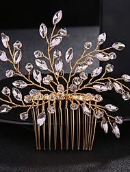 baratos -Cristal / Liga Pentes de cabelo com Pedrarias / Cristais 1pç Casamento / Roupa Diária Capacete