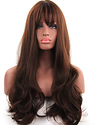 cheap -Synthetic Wig Curly With Bangs With Bangs Density Capless Brown Party Wig Natural Wigs Long Synthetic Hair