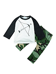 cheap -Boys' Daily Print Patchwork Clothing Set, Cotton Spring All Seasons Long Sleeves Casual Active Army Green
