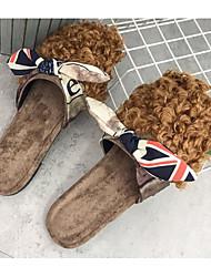 Недорогие -Для женщин Обувь Шерсть Весна Осень Удобная обувь Башмаки и босоножки На плоской подошве для Повседневные Черный Коричневый