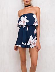 cheap -Women's Romper - Color Block, Print Off Shoulder