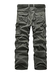 baratos -Homens Esporte & lazer Cintura Média Micro-Elástica Chinos Calças, Algodão Primavera Outono Sólido