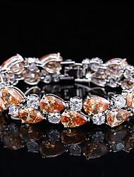 abordables -Femme Diamant synthétique Bracelet - Plaqué argent Bracelet Blanc / Orange / Violet Pour Mariage / Soirée