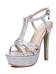 preiswerte -Schuhe maßgeschneiderte Werkstoffe Kunstleder Frühling Sommer Neuheit Pumps Sandalen Stöckelabsatz für Hochzeit Party & Festivität Gold