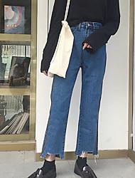 cheap -Women's High Rise Inelastic Wide Leg Jeans Pants,Simple Wide Leg Jeans Solid