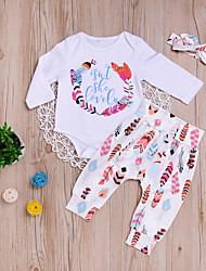 cheap -Baby Unisex Daily Sports Print Clothing Set,Cotton Spring Fall Cute Active Long Sleeve White