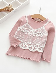 cheap -Girls' Solid Blouse,Cotton Polyester Spring Fall Long Sleeve Simple Gray Blushing Pink White Green