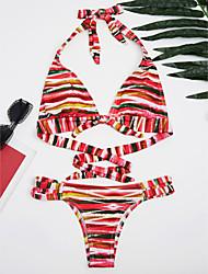 abordables -Bikinis Aux femmes Fleur décolleté Plongeant Rubans Licou Polyester