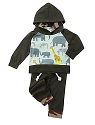 cheap -Boys' Daily Animal Print Color Block Clothing Set, Cotton Spring Long Sleeves Casual Army Green