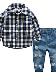 Недорогие -Мальчики Набор одежды Повседневные Хлопок Однотонный Шахматка Весна Длинные рукава Простой Синий