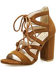 preiswerte -Damen Schuhe Kunstleder Frühling Sommer Modische Stiefel Stiefeletten Komfort Neuheit Sandalen Blockabsatz Schleife für Hochzeit Normal