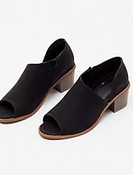 preiswerte -Damen Schuhe Künstliche Mikrofaser Polyurethan Frühling Sommer Komfort Modische Stiefel Stiefeletten High Heels Keilabsatz Peep Toe