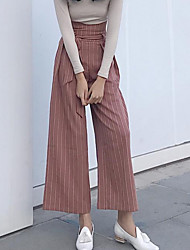 cheap -Women's High Rise Inelastic Wide Leg Pants, Simple Solid Fall