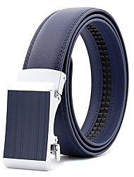 cheap -Men's Leather Alloy Waist Belt,Blue Brown Black Party Work Casual Solid Metal Pure Color