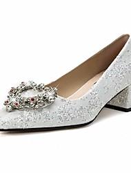Недорогие -Жен. Обувь Кружева Весна Осень Удобная обувь Свадебная обувь Высокий каблук для Повседневные Белый