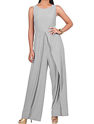 cheap -Women's Holiday Simple Solid Round Neck Jumpsuits Sleeveless Spring Summer Cotton