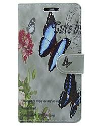 abordables -Coque Pour Huawei P9 Porte Carte Portefeuille Avec Support Clapet Papillon Fleur Dur pour Huawei