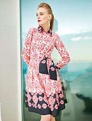 baratos -Bainha Vestido,Para Noite Vintage Geométrica Colarinho de Camisa Longo Manga Curta Poliéster Primavera Verão Cintura Média Sem