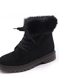 cheap -Women's Shoes Suede Winter Snow Boots Boots Flat Heel Round Toe Lace-up for Casual Black Gray Army Green