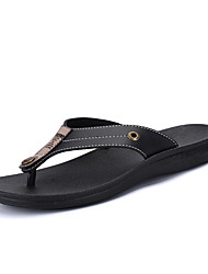 cheap -Unisex Shoes PU Summer Light Soles Slippers & Flip-Flops Flat Heel Round Toe for Black / Brown