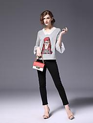 economico -T-shirt Per donna Monocolore A V Manica Flare