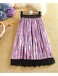 cheap -Women's Holiday Going out Midi Skirts,Casual Swing Cotton Solid Lace Winter