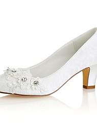baratos -Mulheres Sapatos Cetim com Stretch Primavera / Outono Plataforma Básica Sapatos De Casamento Salto Robusto Ponta Redonda Cristais Ivory