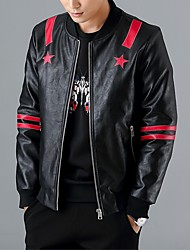 cheap -Men's Vintage Leather Jacket - Solid, Sequins Stand