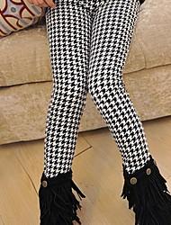 abordables -Pantalones Chica Cuadrícula Algodón Invierno Bonito Negro