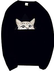 abordables -Pull à capuche & Sweatshirt Femme Petites Tailles Quotidien Décontracté Couleur Pleine Motif Animal Col Arrondi Sans Doublure