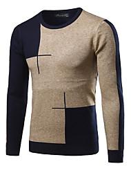 economico -Standard Pullover Da uomo-Casual Moda città Monocolore Rotonda Manica lunga Cashmere Inverno Autunno Spesso strenchy