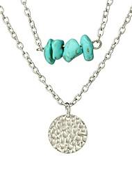 Недорогие -Жен. Бирюза Слоистые ожерелья  -  Мода Серебряный Ожерелье Назначение Повседневные, Праздники