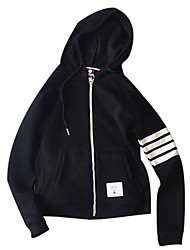 cheap -Women's Daily Hoodie Solid Striped Hooded Micro-elastic Polyester Long Sleeve Spring