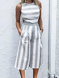 abordables -Femme Vacances Basique Coton Combinaison-pantalon Couleur Pleine / Rayure / Printemps / Eté
