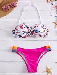 preiswerte -Damen Blumen Bikinis Bademode Weiß