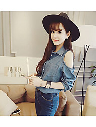 baratos -Mulheres Camisa Social Vintage Sólido Colarinho de Camisa