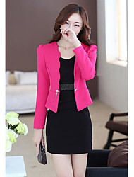 cheap -Women's Going out Work Casual Winter Fall Blazer Dress Suits,Solid V-neck Long Sleeve Pure Color Polyester Micro-elastic