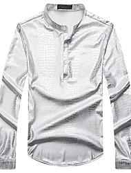 abordables -Hombre Casual Chic de Calle Tejido Oriental Diario Noche Todas las Temporadas Camiseta,Escote Chino Un Color Geométrico Mangas largas