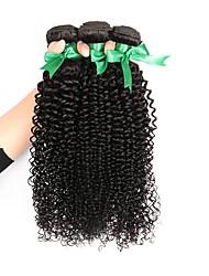 Недорогие -3 Связки Бразильские волосы Kinky Curly Не подвергавшиеся окрашиванию Человека ткет Волосы Ткет человеческих волос Расширения человеческих волос Жен. / Кудрявый вьющиеся