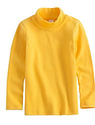 Недорогие -Девочки Футболка Хлопок Однотонный Весна Длинный рукав Простой Бежевый Темно синий Желтый Пурпурный Винный