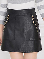 cheap -Women's Casual/Daily Above Knee Skirts,Simple A Line Lace Solid Winter Fall