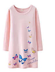 cheap -Girl's Multi Color Dress, N/A All Seasons Long Sleeves Street chic Green White Blushing Pink Fuchsia