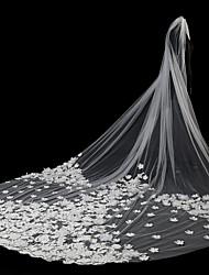 abordables -2 capas Estilo moderno Flor Accesorios Con aplicación de encaje De Gran Tamaño Nupcial Princesa Europeo De Encaje Boda Velos de Boda
