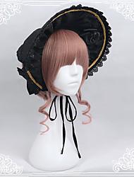 baratos -Lolita Gorro Doce Decoração de Cabelo Preto Acessórios Lolita Decoração de Cabelo Poliéster / Algodão