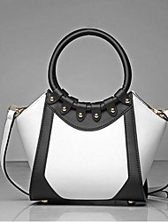 cheap -Women's Bags PU Tote Zipper for Casual All Seasons White Black