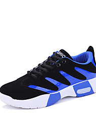 cheap -Men's Sneakers Fall Round Toe Tulle Casual Flat Heel Lace-up Blue / Red / White / Orange Sneaker