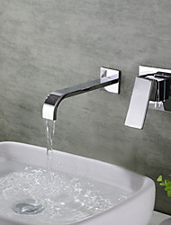 cheap -Bathroom Sink Faucet - Waterfall Chrome Wall Mounted Three Handles Two Holes