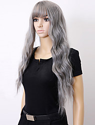 cheap -Synthetic Wig Curly With Bangs Density Capless Gray Black Party Wig Natural Wigs Long Synthetic Hair