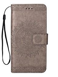 Недорогие -Кейс для Назначение SSamsung Galaxy Note 8 Note 5 Бумажник для карт Кошелек со стендом Флип Рельефный Сплошной цвет Твердый Кожа PU для