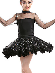 cheap -Latin Dance Dresses Performance Leatherette Sequined Lace Ruching Long Sleeves High Dress